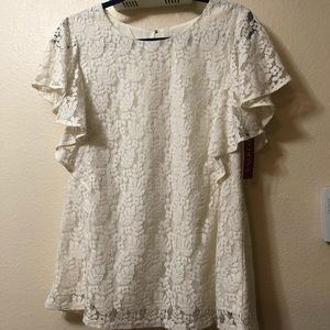NEW! Cream lace short ruffle sleeve blouse